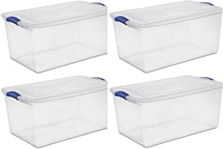 Sterilite 105 Qt./99 L Latch Box, Stadium Blue - 4 Pack