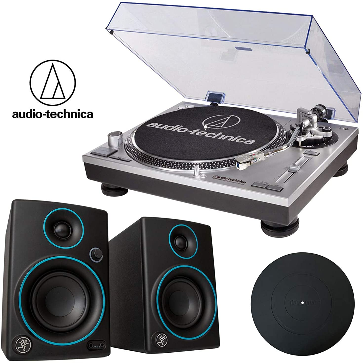 Audio-Technica ATLP120USB Direct-Drive Pro Turntable + Mackie CR3 Blue Speakers + Platter Mat