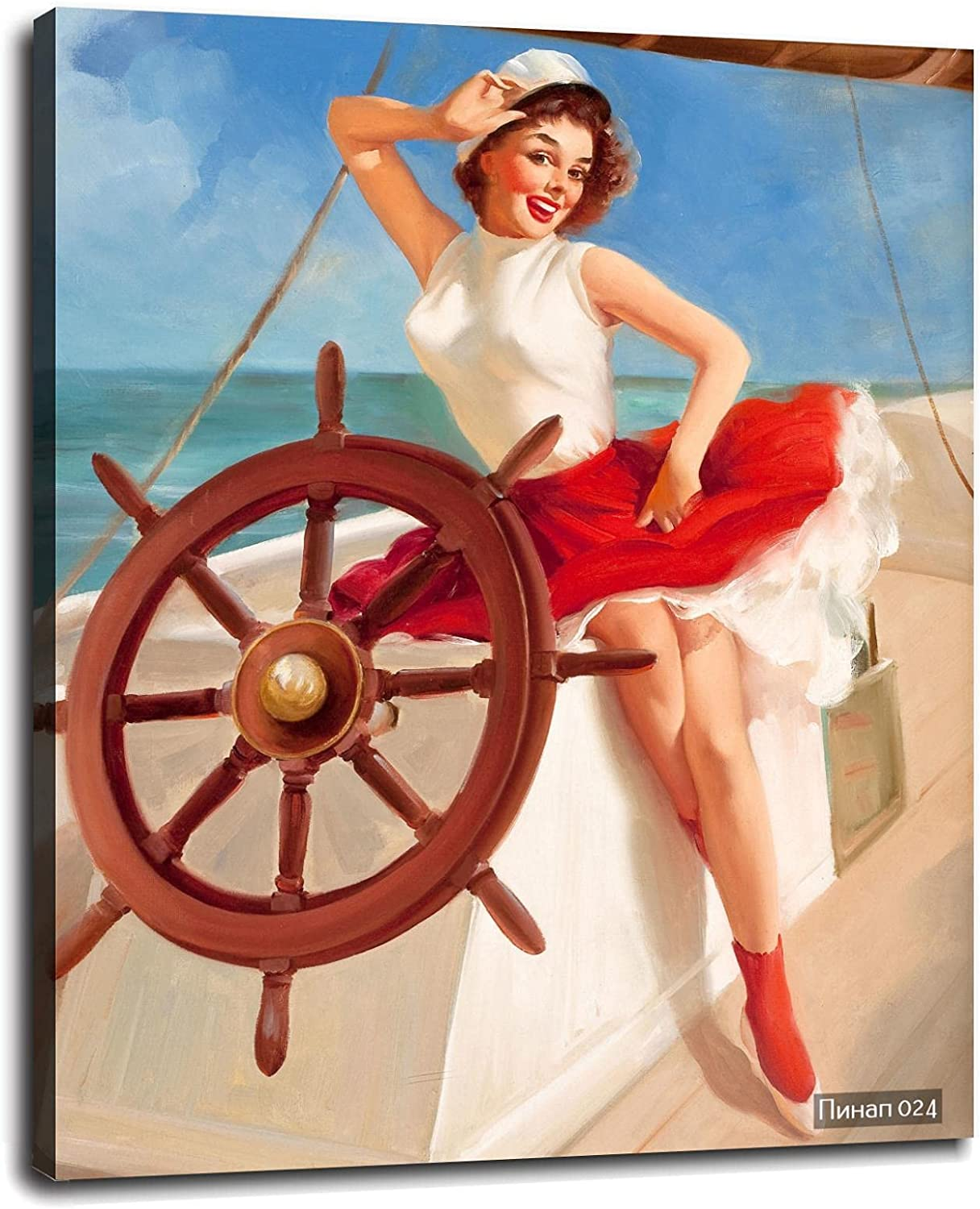 Sailor Girl Beauty products 1950s Vintage Style Elvgren Boat Poster trust Sail Pin-Up