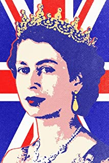 Poster Foundry Queen Elizabeth II Union Jack Pop Print Stretched Canvas Wall Art 16x24 inch