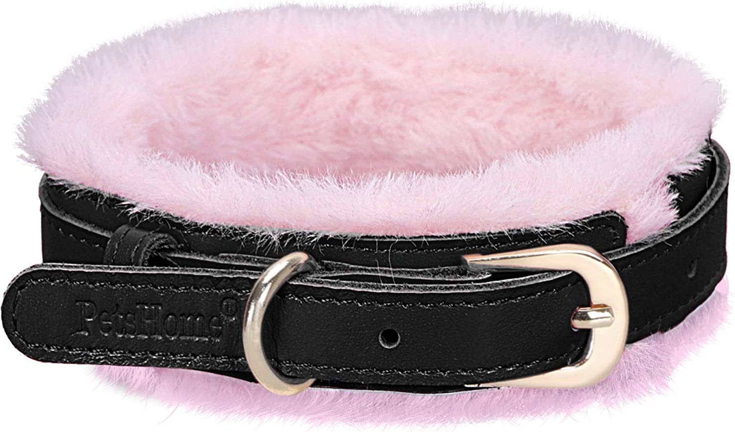 PetsHome Dog Collar, Cat Collar, [Genuine Leather][Soft Fur] Adjustable Collars for Small Dog and Cat Small Black