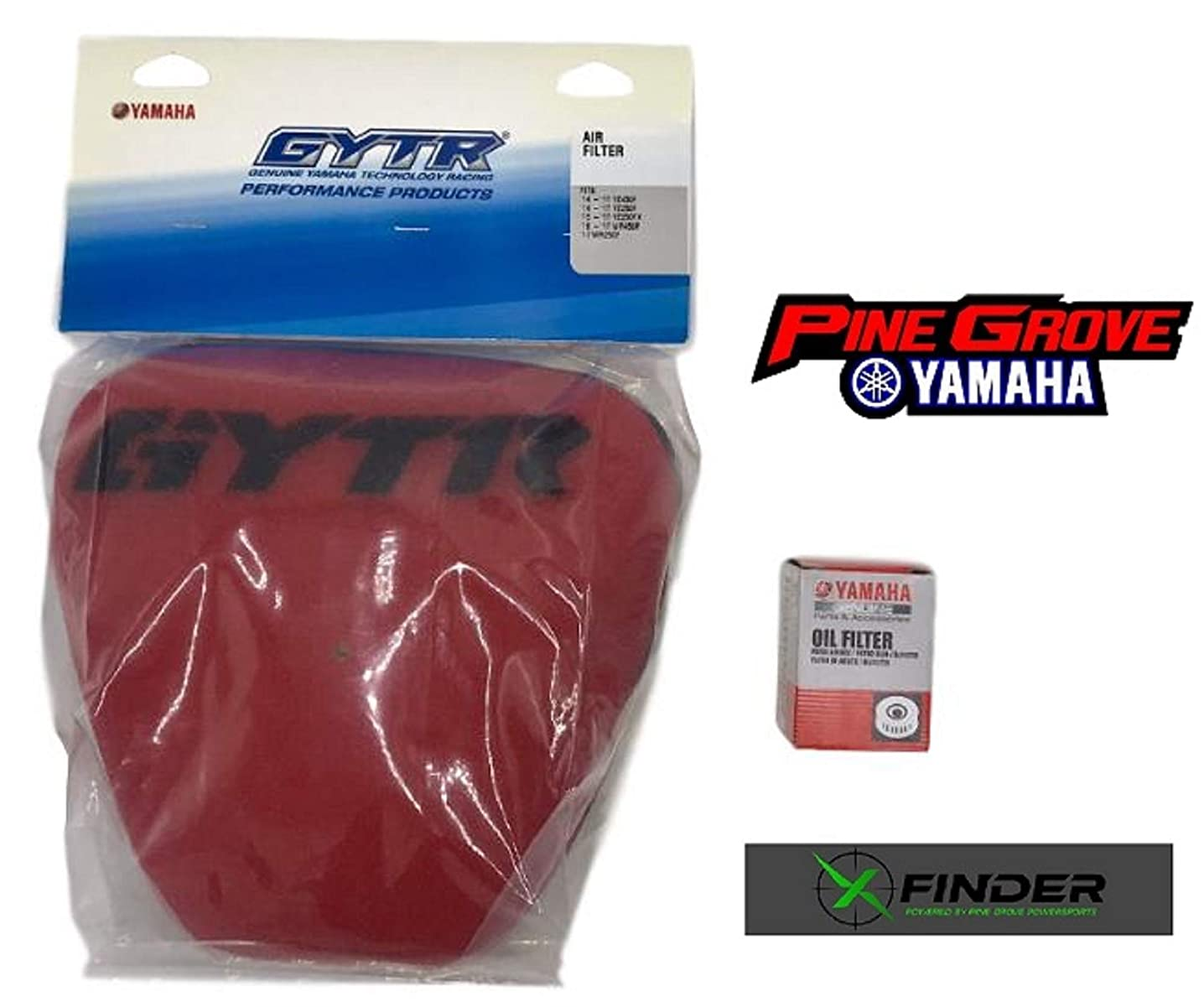 2014-2018 Yamaha YZ250F, 2014-2017 Yamaha YZ450F GYTR High-Flow Air filter with Genuine OEM Oil Filter, Includes X-Finder and Pine Grove Yamaha Stickers