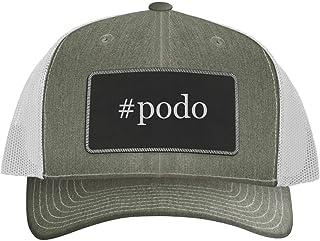 One Legging it Around #Podo - Leather Hashtag Black Metallic Patch Engraved Trucker Hat
