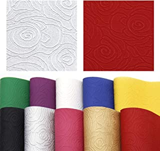 David accessories Floral Rose Printed Faux Leather Sheet Bump Texture Synthetic Leather Fabric 10 Pcs 8