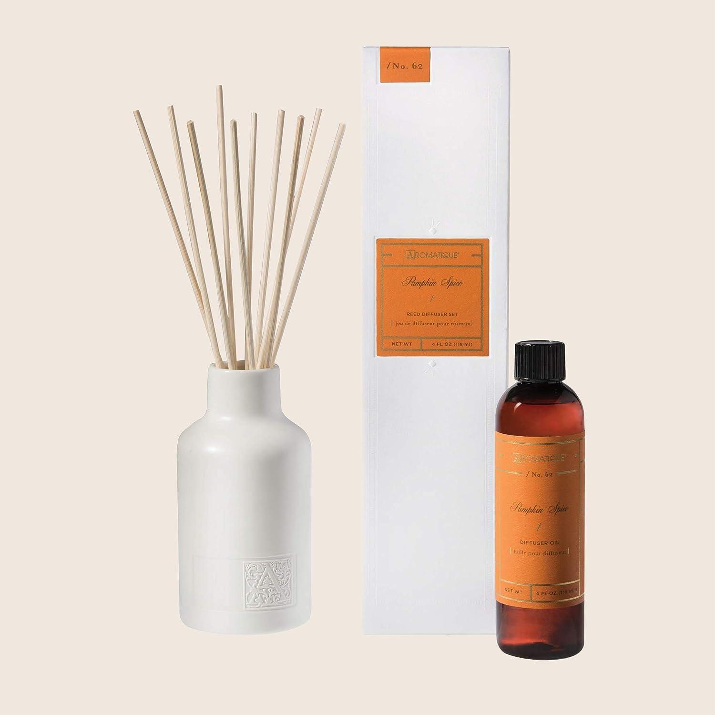 Aromatique Pumpkin Spice Reed Diffuser 人気上昇中 White Set Cerami 送料無料 一部地域を除く Contains