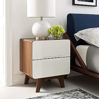 Modway Origin Contemporary Mid-Century Modern 2-Drawer Bedroom Nightstand in Walnut White