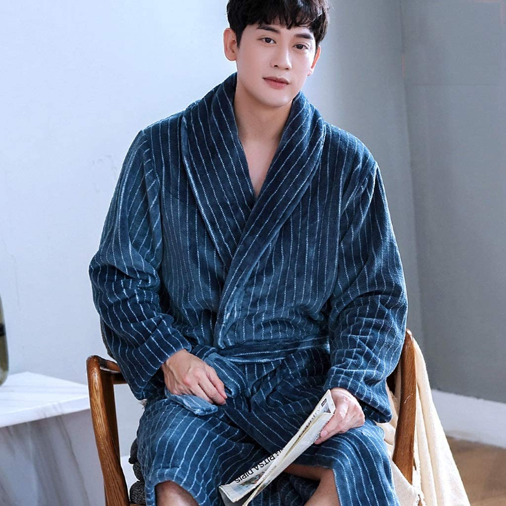 ZSQAW Coral Fleece Male Robe Autumn Winter Flannel Warm Sleepwear Men Thicken Bathrobe Lounge Nightgown Oversized Leisure Home Clothes (Size : XXX-Large)