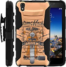 TurtleArmor | Compatible with Huawei Pronto Case | Huawei SnapTo Case | H891L [Hyper Shock] Hard Reinforced Rugged Impact Hybrid Cover Holster Belt Clip Kickstand - Orange Motorcycle