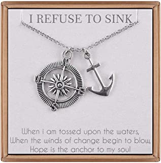 Inspirational Gifts Compass Anchor Necklace - 18