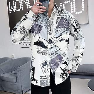 Qiyun Autumn Shirt Men Autumn Fashion Vintage Printing Shirt Long Sleeve Coat Tops