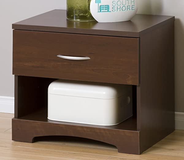 South Shore Step One 1 Drawer Nightstand Sumptuous Cherry With Matte Nickel Handles