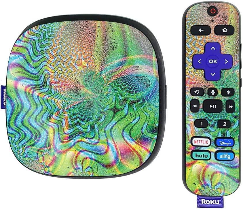 MightySkins Glossy Glitter Skin Compatible with Roku Ultra HDR 4K Streaming Media Player (2020) - Psychedelic | Protective, Durable High-Gloss Glitter Finish | Easy to Apply | Made in The USA