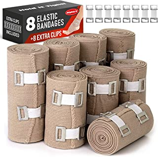 Premium Elastic Bandage Wrap - 8 Pack + 8 Extra Clips - Durable Compression Bandage (4X - 3 inch, 4X - 4 inch Rolls) Stretches up to 15ft in Length