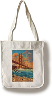 Lantern Press San Francisco, California - Golden Gate Bridge (100% Cotton Tote Bag - Reusable)