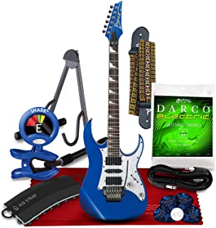 Ibanez RG450DX RG Series Electric Guitar (Starlight Blue) + Blue Clip-On Tuner, Strap, Strap Attachment, Guitar Stand, Strings, Picks, Cable and Fibertique Microfiber Cleaning Cloth