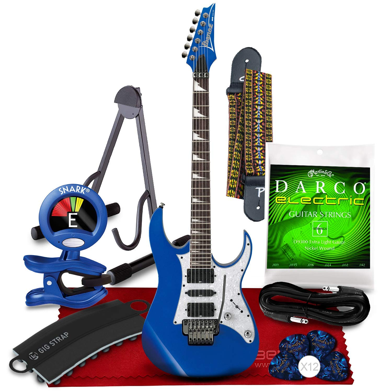 Cheap Ibanez RG450DX RG Series Electric Guitar (Starlight Blue) + Blue Clip-On Tuner Strap Strap Attachment Guitar Stand Strings Picks Cable and Fibertique Microfiber Cleaning Cloth Black Friday & Cyber Monday 2019