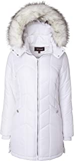 Sportoli Women's Long Down Alternative Puffer Coat Detachable Plush Lined Fur Trim Hood