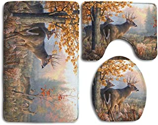 EnmindonglJHO Deer in Autumn Super Cute 3 Piece Bathroom Rug Set Bath Rug, Contour Mat, Lid Cover Non-Slip with Rubber Backing