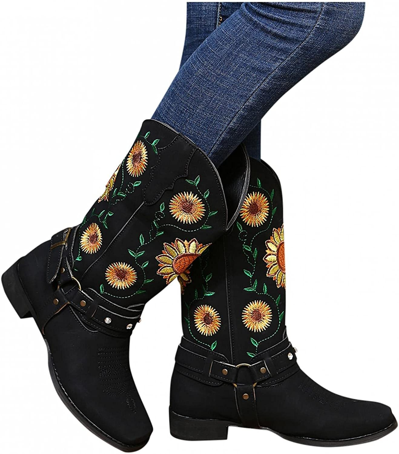 Cowboy Boots for Women Western Boots for Women Sunflowers Mid Ca