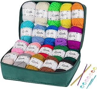 ilauke 20x30g Pelotes de Laine et Fils, Pelotes de Laine a Tricoter en Acrylique pour Tissage à La Main avec 2 Crochet Gra...