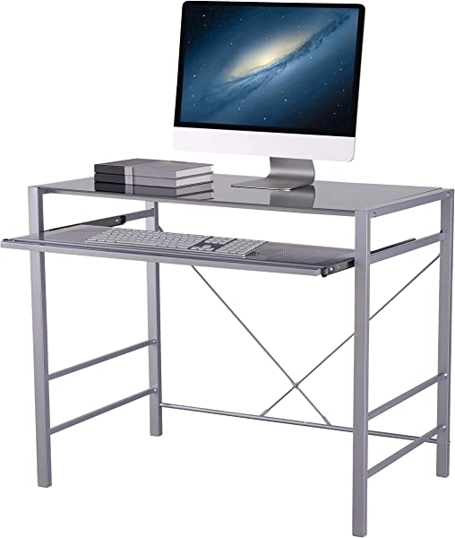 Versatile Modern Glass Top Desk Gray