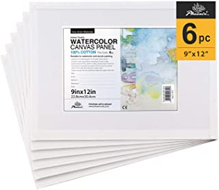 PHOENIX Watercolor Canvas Panel Boards - 9x12 Inch/6 Pack - 1/8 Inch Deep Professional Artist Painting Canvas for Water Soluble Paints