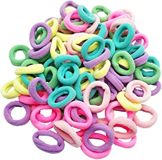 KWJOY Seamless 2.5cm in Diameter Elastic Cotton stretch Hair Ties Bands for Toddler Baby Girl Women VERY Thin & Fine Hair,Small Size Rubber Band Ponytail Holders(100pcs) (Multi Candy Color)