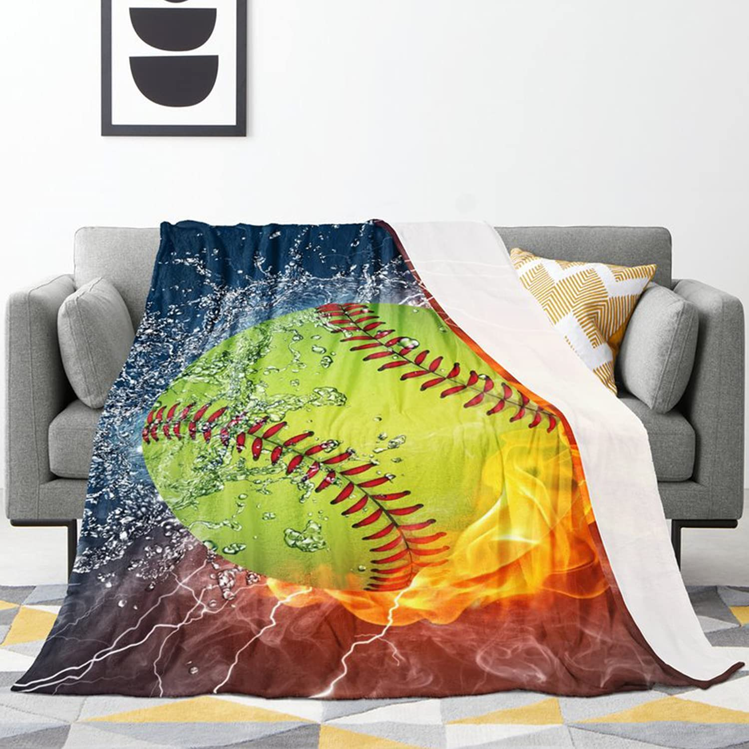 Colorful NEW before selling Fire Softball Blanket Super Soft Max 74% OFF Pet Pattern and Cute D