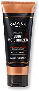 Olivina Men Hydrating Body Moisturizer, Bourbon Cedar, 6.5 Fluid Ounce