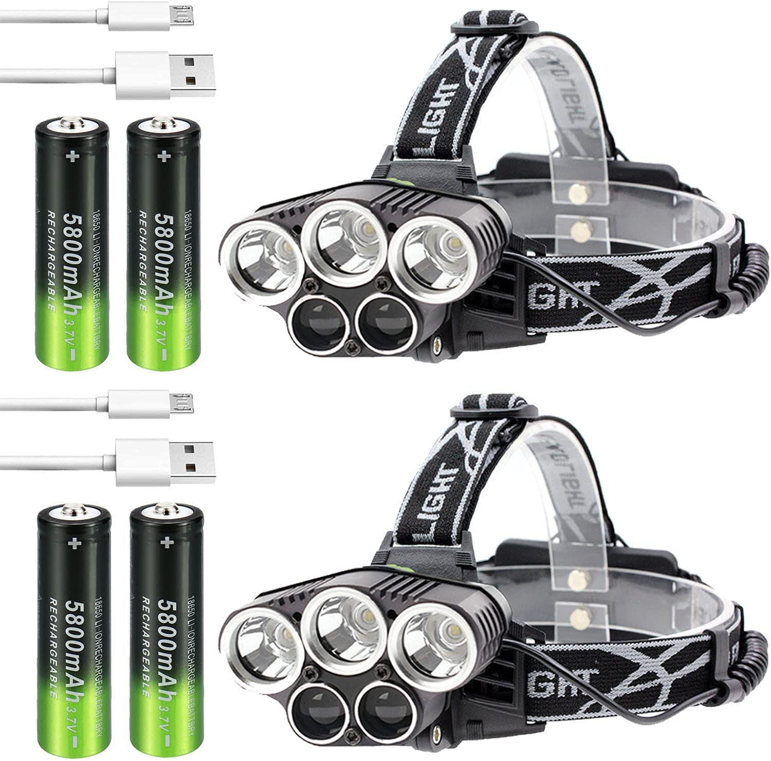 2Pcs Challenge the lowest price of Japan ☆ Rechargeable Las Vegas Mall Headlamp with 4Pcs 6 Modes LED battery 18650