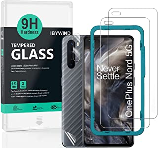 Ibywind Screen Protector for OnePlus Nord [Pack of 2] with Camera Lens Protector,Back Carbon Fiber Skin Protector,Includin...