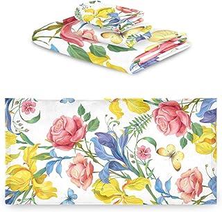 Rulyy - Juego de toallas de algodón absorbente, diseño de flores, mariposas, hojas de tres piezas, toalla de baño, toalla de mano suave, cuadrada, para cocina, baño al aire libre