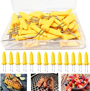 Corn Holders 50 Pieces Stainless Steel Corn on The Cob Holders Skewers with Storage Box for Outdoor BBQ Cooking