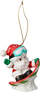 Precious Moments Holiday Fun Christmas Santa Bisque Porcelain 191033 Ornament, One Size, Multi