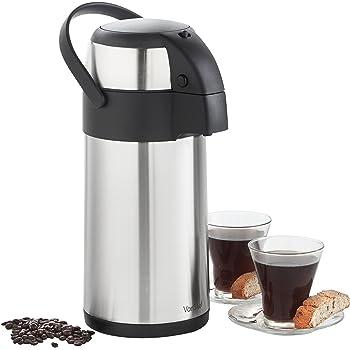 VonShef – Termo con Bomba de Aire para Servir y Cuerpo de Acero Inoxidable para té, café, Agua Caliente o Sopa (3l)