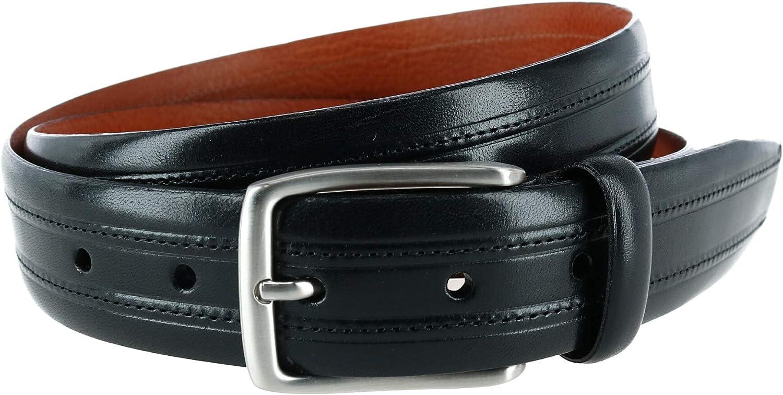 Trafalgar Men's Allister Embossed Leather with Stitching Italian Dress Belt