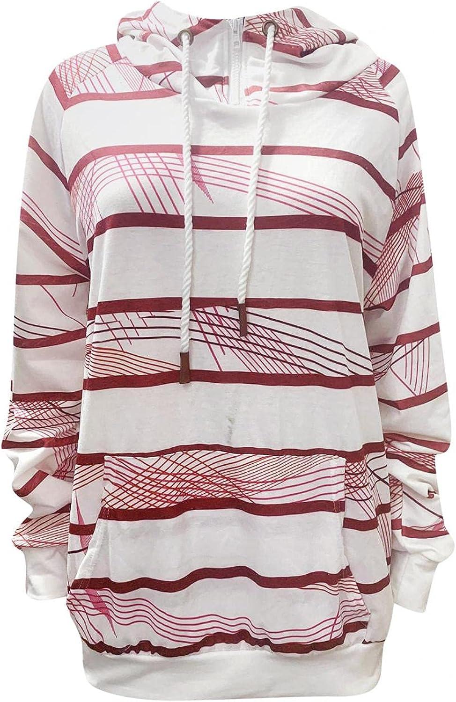 Hooded Sweatshirts for Women,Womens 1/4 Zipper Hoodies Striped Fashion Long Sleeve Shirts Pullover Plus Size Fall Tops