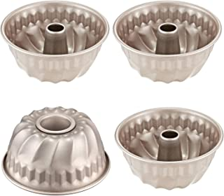 CHEFMADE 4PCS Mini Bundt Pan Set, 4-Inch Non-stick Carbon Steel Kugelhopf Mold, FDA Approved for Oven and Instant Pot Baking (Champagne Gold)