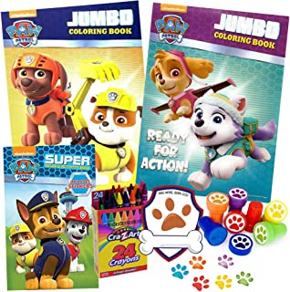 Paw Patrol Coloring Books 6 Piece Travel Gift Set, Includes 2 Paw Patrol Activity Books, Paw Patrol Stickers Toddler Book, 6 Paw Print Stampers, Crayons, Exclusive Badge Sticker, Ages 3, 4, 5, 6, 7