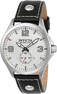 Invicta Men's Aviator Stainless Steel Quartz Watch with Leather Calfskin Strap, Black, 0.85 (Model: 22527