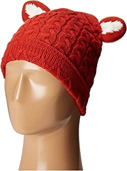 KNH3410 Cabel Knit Beanie with Fox Ears