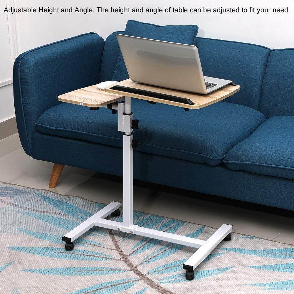 blanc Table pliante pour ordinateur portable bureau r/églable pour ordinateur portable /à angle de hauteur Lit pliant pour table dordinateur avec roues plateau pour ordinateur portable