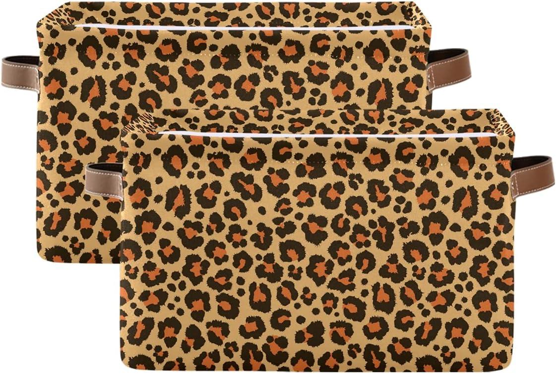 ADAKing Storage Basket Animal Leopard Skin Print 2 Pc Canvas Long Beach Max 61% OFF Mall Lar