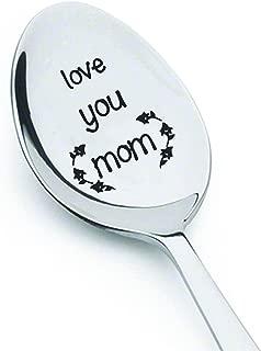 Love You Mom - Coffee Spoon mom Gift - Flatware Spoon -Trendy spoon- Cute Spoon - Engraved Spoon - Spoon Gift By Boston Creative company
