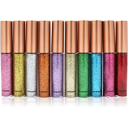 10 Colors Liquid Glitter Eyeliner, Metallic Shimmer Glitter Eyeshadow, Long Lasting Waterproof Sparkling Eyeliner Eye Shadow