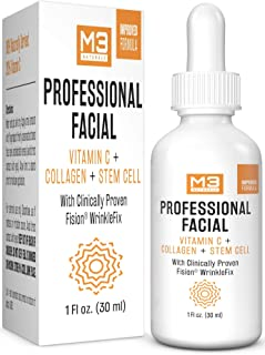 Best M3 Naturals Professional Facial Infused with Clinically Proven Fision Wrinkle Fix, Collagen, Stem Cell, and Vitamin C to Help Lift and Firm Face Under Eye Dark Circles Anti Aging Serum 1 fl oz Review