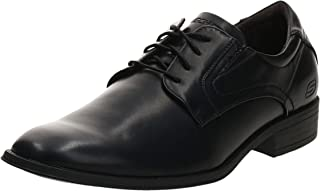 SKECHERS Round Toe Lace Up, Men's Oxfords, Black