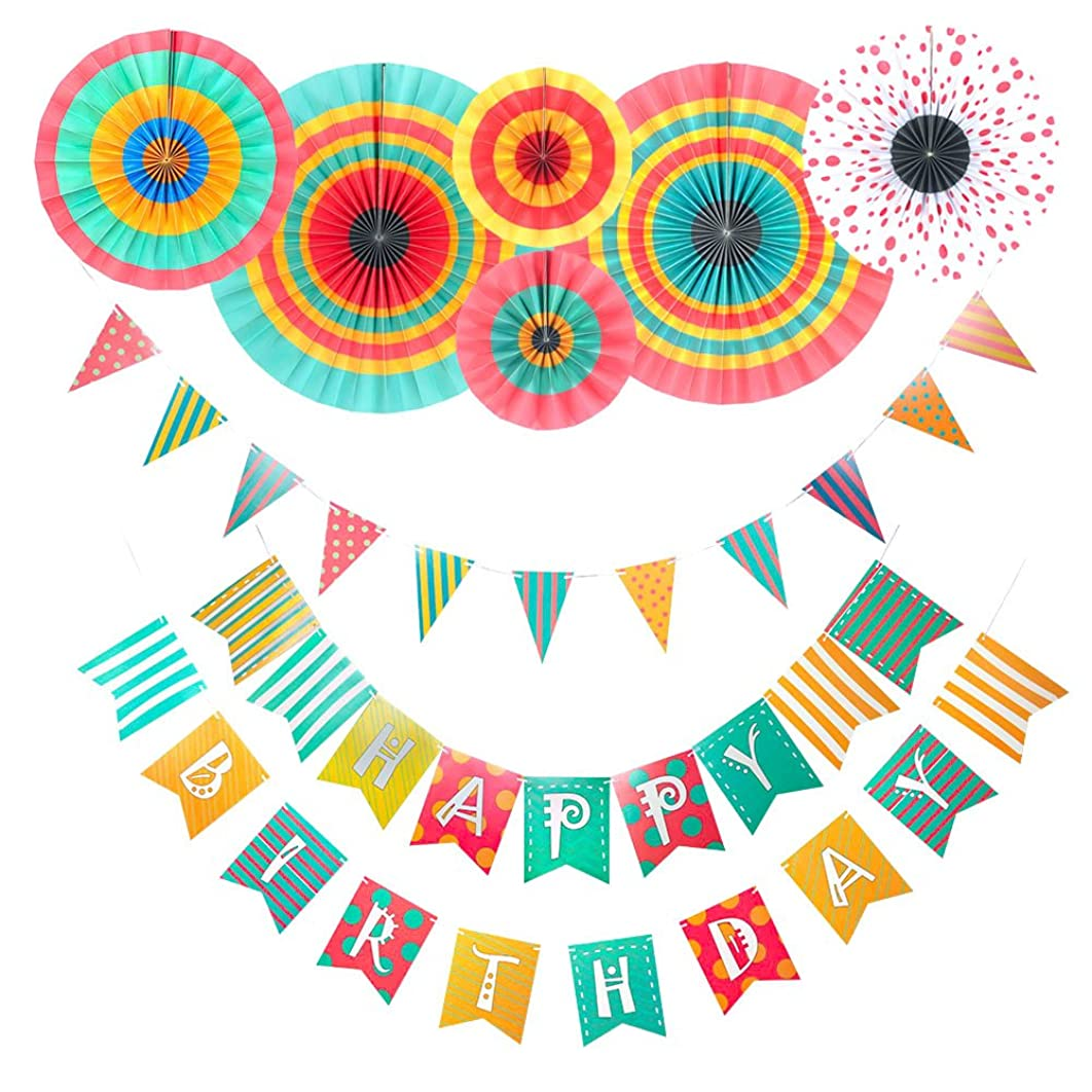 Nougat Decor 8 Pcs Summer Fun Vivid Children's Birthday Party Decorations Set, Including 1 Happy Birthday Banner, 6 Hanging Paper Fans and 1 Triangular Bunting Flag Garland