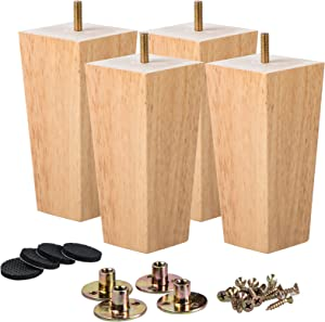 4 inch Wooden Furniture Legs, La Vane Set of 4 Solid Wood Square Walnut Mid-Century Modern M8 Replacement Bun Feet with Pre-Drilled 5/16 Inch Bolt & Mounting Plate & Screws for Couch Sofa Armchair