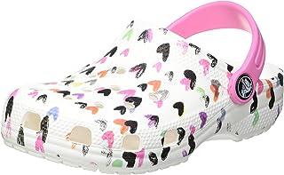 Crocs Classic Heart Print Kids, Sabots Fille, White, 37-38 EU / 5 US J